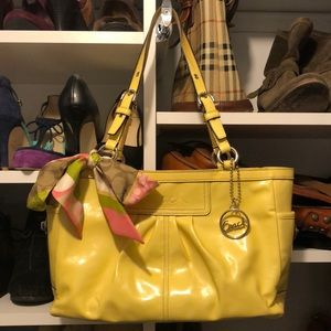 Patent Yellow Pleaded Gallery Coach Bag & Scarf